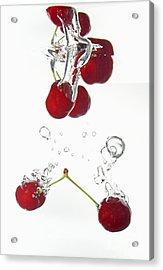 Cherries Fruits Splashing Underwater Acrylic Print by Sami Sarkis