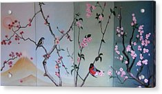 Cherry At The Foot Of Mount Fuji Acrylic Print by Sorin Apostolescu