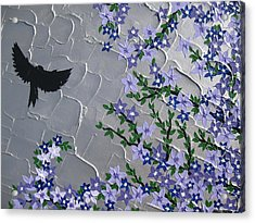 Cherry Blossom And Bird Acrylic Print by Cathy Jacobs