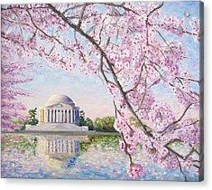 Jefferson Memorial Cherry Blossoms Acrylic Print by Patty Kay Hall