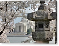 Cherry Blossoms With Jefferson Memorial - Washington Dc - 011323 Acrylic Print by DC Photographer