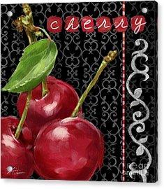 Cherry On Black And White Acrylic Print by Shari Warren