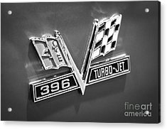 Chevy 396 Turbo-jet Emblem Black And White Picture Acrylic Print by Paul Velgos