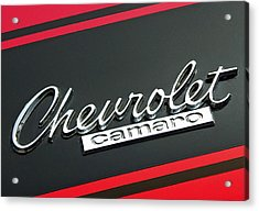 Chevy Camaro In Red Acrylic Print by Charlette Miller