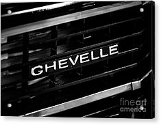 Chevy Chevelle Grill Emblem Black And White Picture Acrylic Print by Paul Velgos