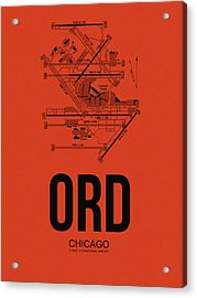 Chicago Airport Poster 1 Acrylic Print by Naxart Studio