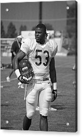 Chicago Bears Lb Jerry Franklin Training Camp 2014 Bw Acrylic Print by Thomas Woolworth