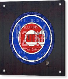 Chicago Cubs Baseball Team Retro Vintage Logo License Plate Art Acrylic Print by Design Turnpike