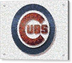 Chicago Cubs Mosaic Acrylic Print by David Bearden