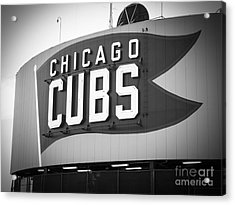 Chicago Cubs Wrigley Field Sign Black And White Picture Acrylic Print by Paul Velgos