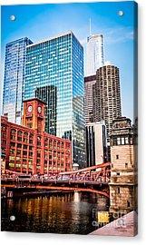 Chicago Downtown At Lasalle Street Bridge Acrylic Print by Paul Velgos