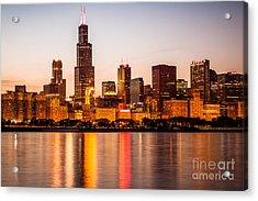 Chicago Downtown City Lakefront With Willis-sears Tower Acrylic Print by Paul Velgos