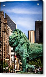 Chicago Lion Statues At The Art Institute Acrylic Print by Paul Velgos