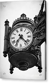 Chicago Macy's Marshall Field's Clock In Black And White Acrylic Print by Paul Velgos