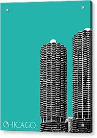 Chicago Skyline Marina Towers - Teal Acrylic Print by DB Artist