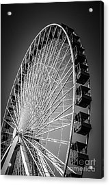 Chicago Navy Pier Ferris Wheel In Black And White Acrylic Print by Paul Velgos