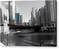 Chicago River At Franklin Street Acrylic Print by David Bearden