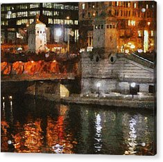 Chicago River At Michigan Avenue Acrylic Print by Jeff Kolker