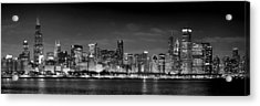 Chicago Skyline At Night Black And White Acrylic Print by Jon Holiday