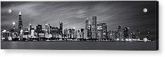 Chicago Skyline At Night Black And White Panoramic Acrylic Print by Adam Romanowicz