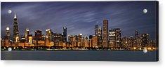 Chicago Skyline At Night Color Panoramic Acrylic Print by Adam Romanowicz
