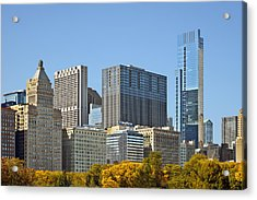Chicago Skyline From Millenium Park II Acrylic Print by Christine Till