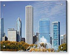 Chicago Skyline From Millenium Park Iv Acrylic Print by Christine Till