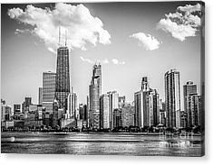 Chicago Skyline Picture In Black And White Acrylic Print by Paul Velgos