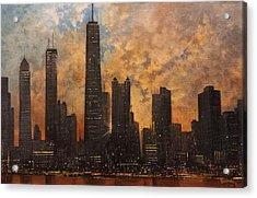 Chicago Skyline Silhouette Acrylic Print by Tom Shropshire