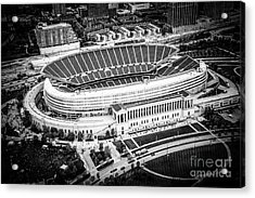 Chicago Soldier Field Aerial Picture In Black And White Acrylic Print by Paul Velgos