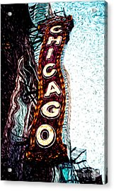 Chicago Theatre Sign Digital Art Acrylic Print by Paul Velgos