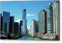 Chicago Trump Tower Under Construction Acrylic Print by Thomas Woolworth