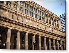 Chicago Union Station Building And Sign Acrylic Print by Paul Velgos