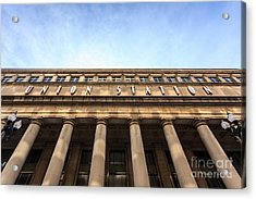 Chicago Union Station Sign And Building Columns Acrylic Print by Paul Velgos
