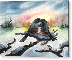 Chickadee Sunset Snuggle Acrylic Print by Sean Seal