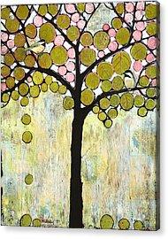 Chickadee Tree Acrylic Print by Blenda Studio