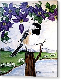 Chickadee With Blue Clematis Acrylic Print by Sandra Maddox