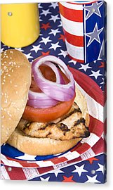 Chicken Burger On Fourth Of July Acrylic Print by Joe Belanger