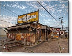 Chicken Oil Company Acrylic Print by Linda Unger