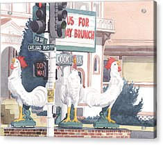 Chickens At Twin Inns Carlsbad Acrylic Print by Mary Helmreich