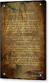 Chief Tecumseh Poem Acrylic Print by Wayne Moran