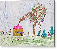 Child Drawing Of A Happy Family Acrylic Print by Kiril Stanchev