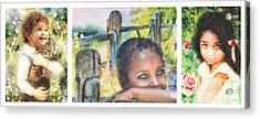 Childhood Triptic Acrylic Print by Mo T
