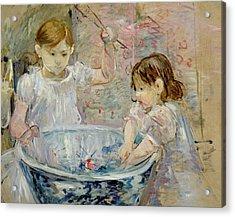 Children At The Basin Acrylic Print by Berthe Morisot