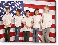 Children In Front Of American Flag Acrylic Print by Don Hammond