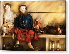 Children - Toys - Assorted Dolls Acrylic Print by Mike Savad