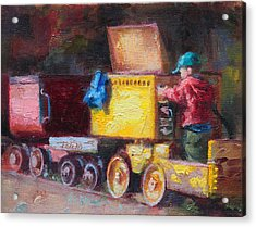 Child's Play - Gold Mine Train Acrylic Print by Talya Johnson