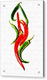 Chili Papers Of Various Shapes Painting Acrylic Print by Magomed Magomedagaev