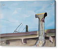Chimney Pipe And Berkeley Sky Acrylic Print by Asha Carolyn Young