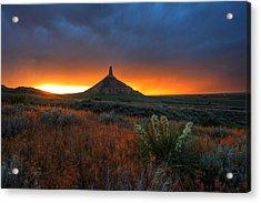 Chimney Rock Sunset Acrylic Print by Chris Allington